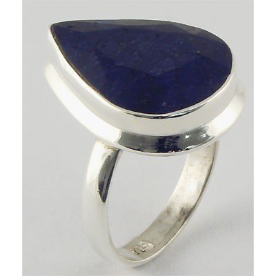 33ctw APPROX Silver Pear Shape Sapphire Ring