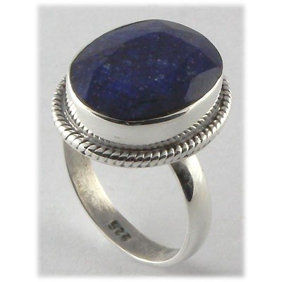 27ctw APPROX Silver Oval Shape Sapphire Ring