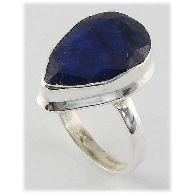 31ctw APPROX Silver Pear Shape Sapphire Ring