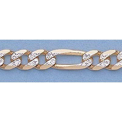 "Pure Gold 16"" 14k  Gold-Yellow 4.4mm Rhod Figaro Chain"