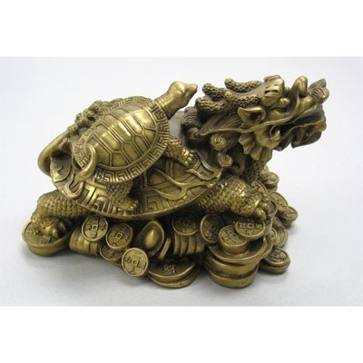 Turtle Dragon Made of Brass Chinese Figurin Good Luck