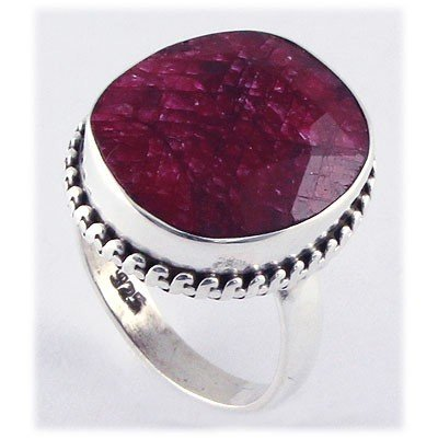 32ctw APPROX Sterling Silver Oval Ruby Ring