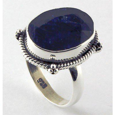 36ctw APPROX Silver Oval Shape Sapphire Ring