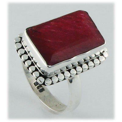 30ctw APPROX Sterling Silver Emerald Ruby Ring