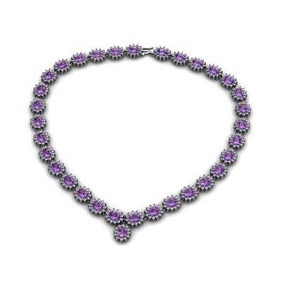 Amethyst 48.90 ctw Diamond Necklace 14kt White Gold