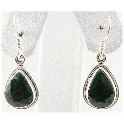 27ctw APPROX Silver 12x8mm  Emerald Earring