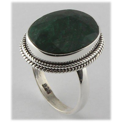 32ctw APPROX Silver Emerald Ring