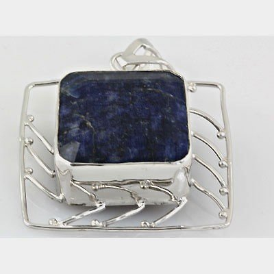 262ctw APPROX Blue Sapphire in Antique Silver Pendant