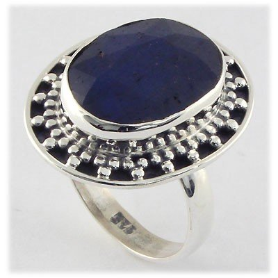 35ctw APPROX Silver Oval Shape Sapphire Ring