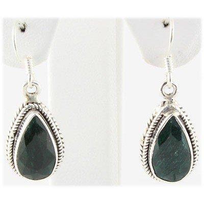 31ctw APPROX Silver Pear Shape Emerald Earring