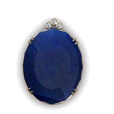 Sapphire Oval 88.67ctw Diamond Pendant 14k W/Y Gold