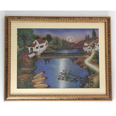 Crushed Gemstone Painting of Lake House w/ Frame
