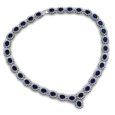 Sapphire 58.80 ctw Diamond Necklace 14kt White Gold