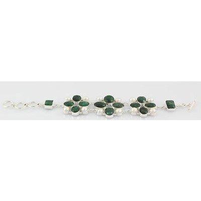 240ctw APPROX Emerald Gemstone Silver Bracelet