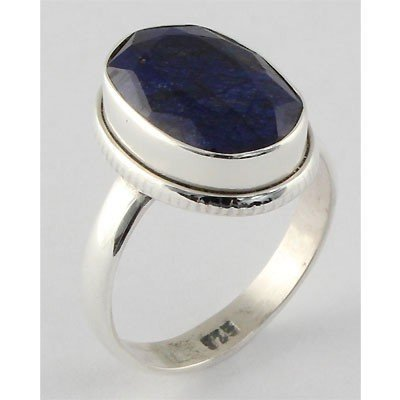23ctw APPROX Silver Oval Shape Sapphire Ring