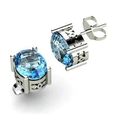 Aqua Marine 2.2ctw Earring 14kt White Gold