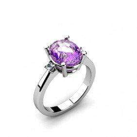 Amethyst  2.56 ctw Diamond  Ring 14kt White Gold