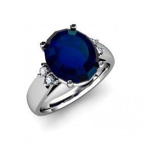 Sapphire 6ctw& Diamond Ring 14kt White Gold