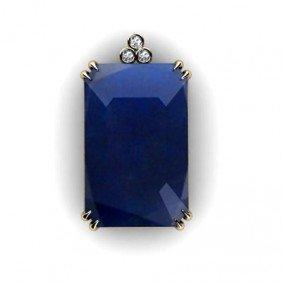 Sapphire Radiant Opaque 46.32ctw Diamond Pendant 14k