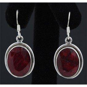 40ctw APPROX Ruby Gemstone Silver Dangling Earring