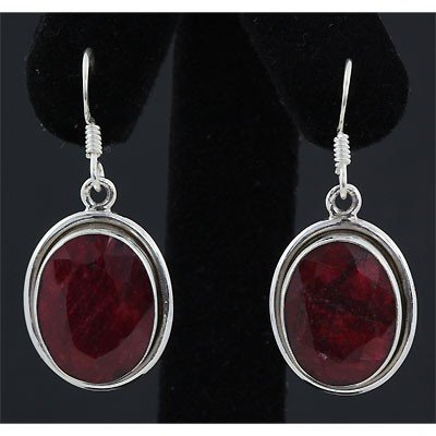 40ctw APPROX Ruby Gemstone Silver Dangling Earring