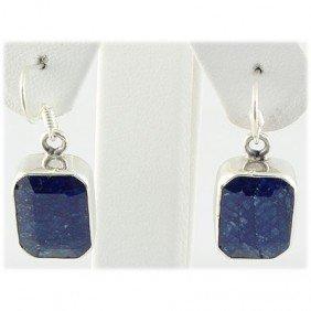35ctw APPROX Silver Emerald Shape Sapphire Earring