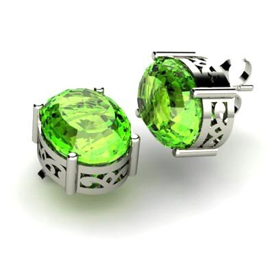 Peridot 5ctw Earring 14kt White Gold