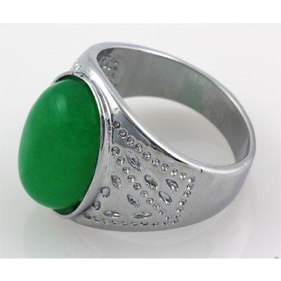 Men's Large Oval Jade Set in Silver Sterling w/ Design