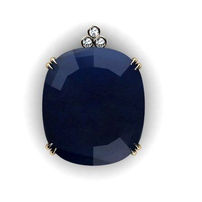 Sapphire Oval 87.56ctw Diamond Pendant 14k W/Y Gold