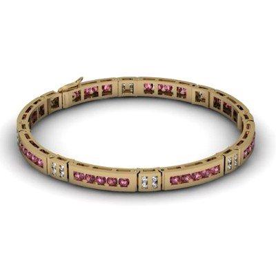 Garnet 2.96 ctw & Diamond Bracelet 14kt W OR Y Gold