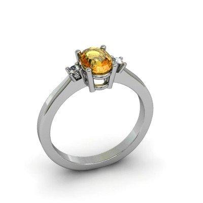 Citrine 0.49 ctw Diamond Ring 14kt  White Gold