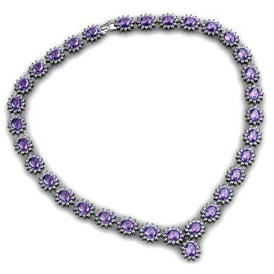 Tanzanite 52.20 ctw Diamond Necklace 14kt  White Gold