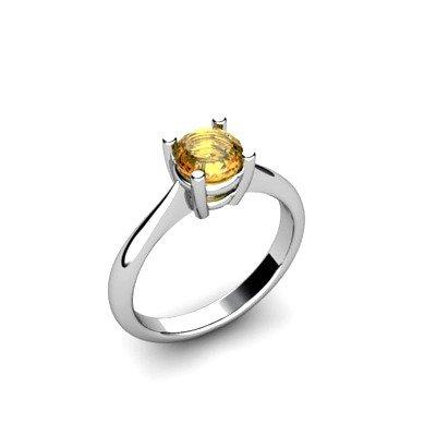 Citrine 0.7ctw Ring 14kt White Gold