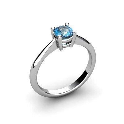 Aqua Marine 0.45ctw Ring 14kt White Gold