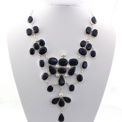 625ctw APPROX Sapphire Gemstone Silver Necklace