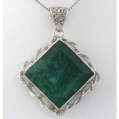 206ctw APPROX Emerald Gemstone Square Silver Pendant