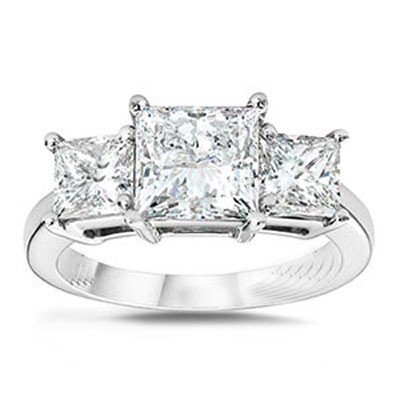1.50 ctw Princess cut Three Stone Diamond Ring, G-H, VS