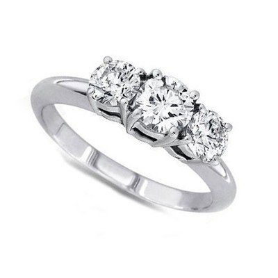 1.00 ctw Round cut Three Stone Diamond Ring, G-H, VS