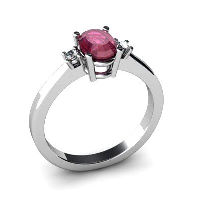 Ruby 1.14 ctw Diamond Ring 14kt White Gold