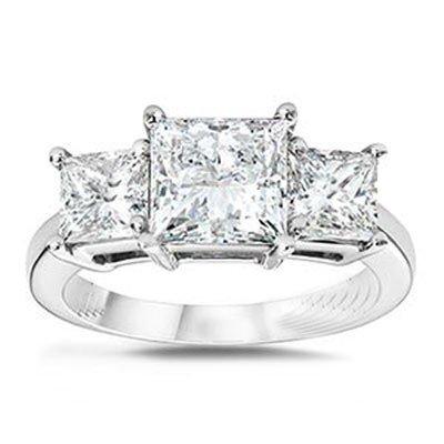 3.00 ctw Princess cut Three Stone Diamond Ring, G-H,SI2