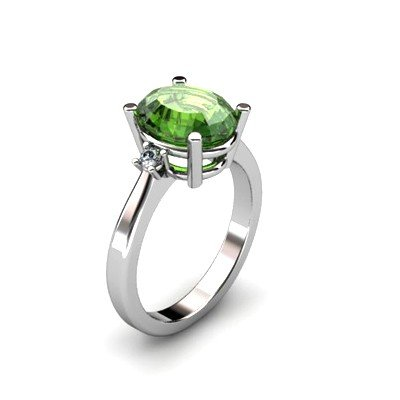 Tourmaline 3.06 ctw Diamond Ring 14kt White Gold