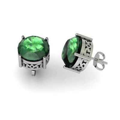 Emerald 6.1ctw Earring 14kt White Gold