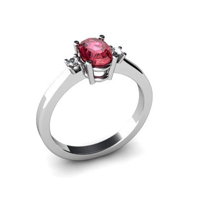 Garnet 0.59 ctw Diamond Ring 14kt White Gold