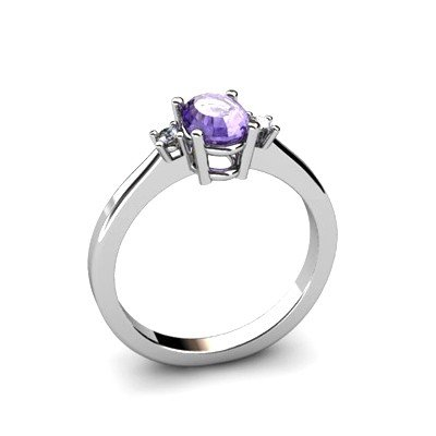 Tanzanite 0.52 ctw Diamond Ring 14kt White Gold
