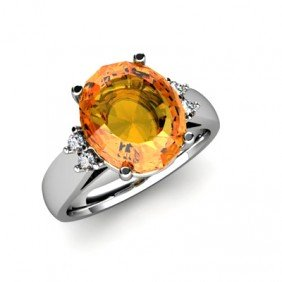 Citrine 4.20 ctw & Diamond Ring 14kt White Gold