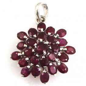 20.40 ctw 0.925 Sterling Silver Ruby Pendant
