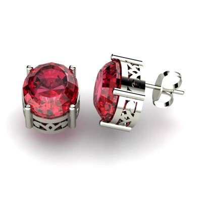 Garnet 5.6ctw Earring 14kt White Gold