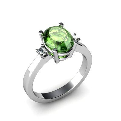 Tourmaline 2.40 ctw Diamond Ring 14kt White Gold