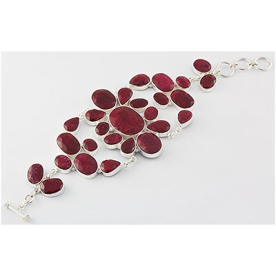399ctw APPROX Silver Flower Ruby Gemstone Braclet