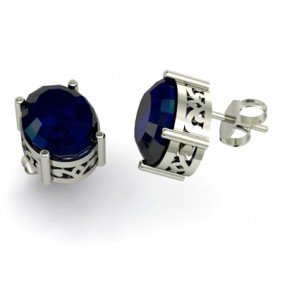 Sapphire 6.3ctw Earring 14kt White Gold